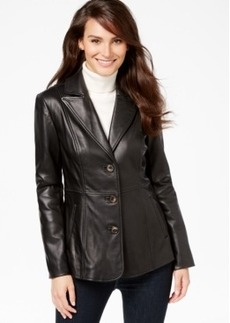Jones New York Leather Blazer Coat