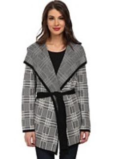 Jones New York Long Sleeve Plaid Cardigan Sweater with Belt