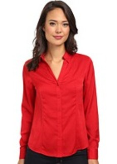 Jones New York Long Sleeve V-Neck Button Up Shirt w/ Front