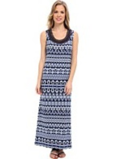 Jones New York Maxi Dress w/ Neck Embroidered
