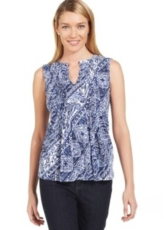 Jones New York Paisley Split-Neck Blouse