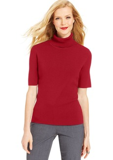 Jones New York Petite Elbow-Sleeve Turtleneck Sweater