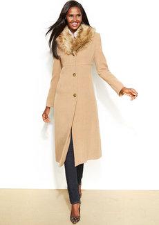 Jones New York Petite Faux-Fur-Collar Wool-Cashmere-Blend Coat