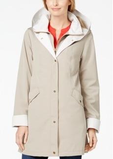 Jones New York Petite Water-Resistant Hooded A-Line Rain Coat