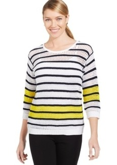 Jones New York Petite Sheer Striped Sweater