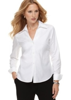 Jones New York Petite Shirt, Long Sleeve Easy Care