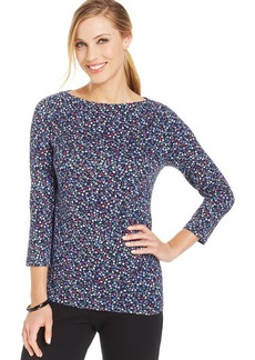 Jones New York Petite Signature Three-Quarter Sleeve Floral Top