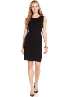 Jones New York Petite Sleeveless Button-Shoulder Sheath Dress