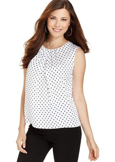 Jones New York Sleeveless Polka-Dot Top