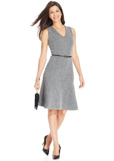 Jones New York Collection Petite Sleeveless Tweed Belted A-Line Dress