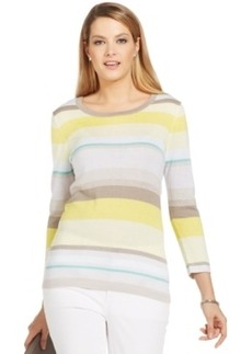 Jones New York Petite Three-Quarter Sleeve Striped Sweater