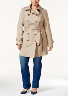 Jones New York Plus Size Water-Resistant Double-Breasted Trench Coat