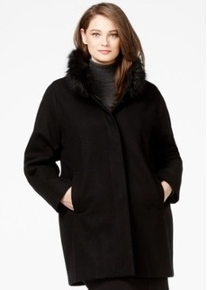 Jones New York Plus Size Faux-Fur-Collar Coat