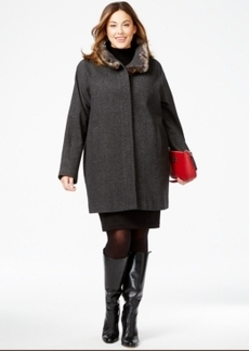 Jones New York Plus Size Faux-Fur-Collar Heathered Coat