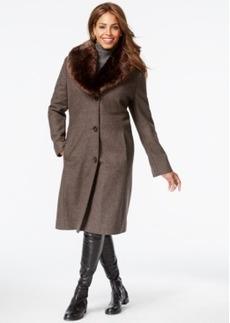 Jones New York Plus Size Faux-Fur-Collar Herringbone Walker Coat