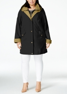 Jones New York Plus Size Water-Resistant Hooded Layered Raincoat