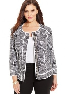 Jones New York Plus Size Printed Zip-Front Jacket