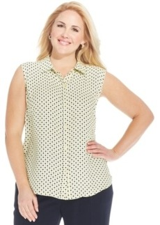 Jones New York Plus Size Sleeveless Polka-Dot Shirt