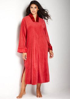 Jones New York Plus Size Steamed Velour Velvet Nights Zip Robe