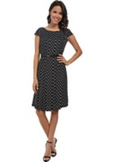 Jones New York Printed Cap Sleeve Pleat Front Dress