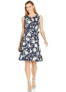 Jones New York Printed Fit & Flare Sleeveless Dress