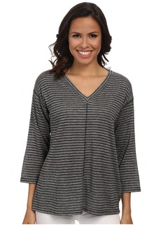 Jones New York Shadow Stripe V-Neck Pullover