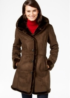 Jones New York Shawl-Collar Faux-Shearling Coat