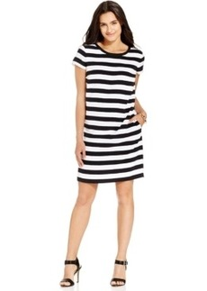 Jones New York Short-Sleeve Striped Sheath Dress