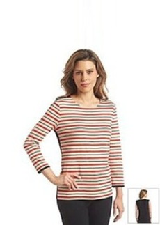 Jones New York Signature® 3/4 Sleeve Stripe Pullover Top