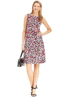 Jones New York Signature Belted Boat-Neck Floral-Print Dress