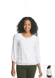 Jones New York Signature® Crochet Front Peasant Top