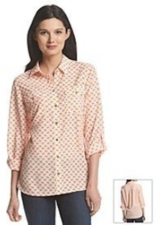 Jones New York Signature® Flamingo Roll Tab Blouse