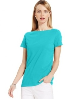 Jones New York Signature Petite Boat-Neck Short-Sleeve Tee