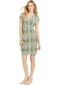 Jones New York Signature Petite Cap-Sleeve Printed Faux-Wrap Dress
