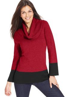 Jones New York Signature Petite Colorblocked Cowl-Neck Sweater