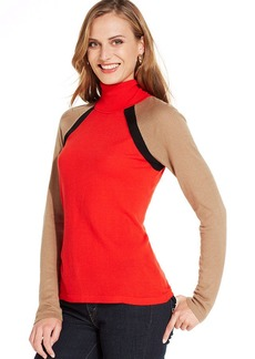 Jones New York Signature Petite Colorblocked Turtleneck