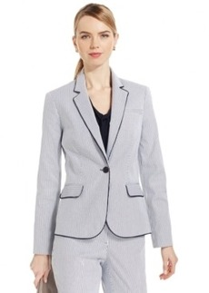 Jones New York Signature Petite Contrast Trim Striped Blazer