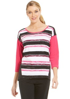 Jones New York Signature Petite Drop Shoulder Active Top