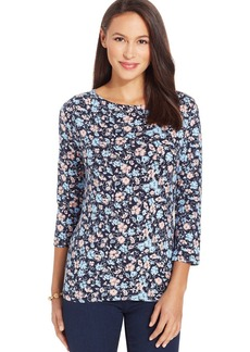 Jones New York Signature Petite Floral-Print Boat-Neck Top