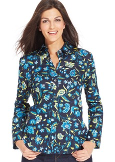 Jones New York Signature Petite Floral-Print Button-Front Shirt