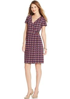 Jones New York Signature Petite Floral-Print Faux-Wrap Dress