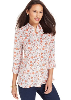 Jones New York Signature Petite Floral-Print Utility Shirt