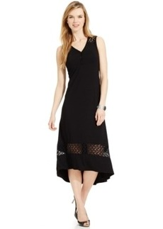Jones New York Lace-Trim High-Low Maxi Dress