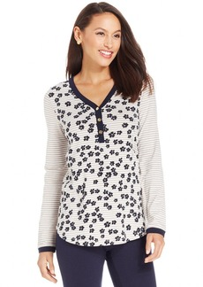 Jones New York Signature Petite Long-Sleeve Printed Henley