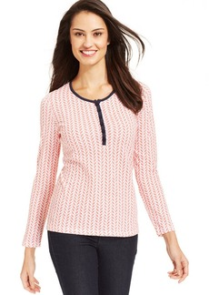 Jones New York Signature Petite Long-Sleeve Printed Henley Top