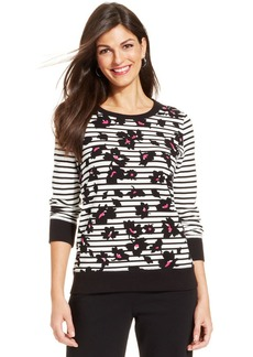 Jones New York Signature Petite Mixed-Print Sweatshirt