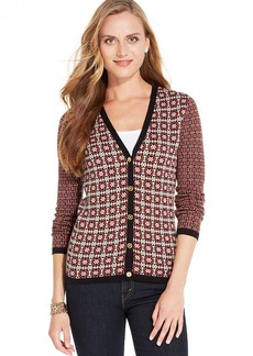 Jones New York Signature Petite Mixed-Print V-Neck Cardigan