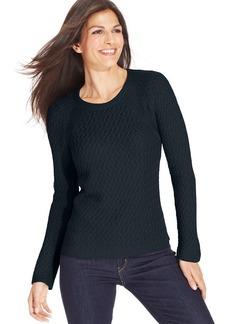 Jones New York Signature Petite Open-Knit Crew-Neck Sweater