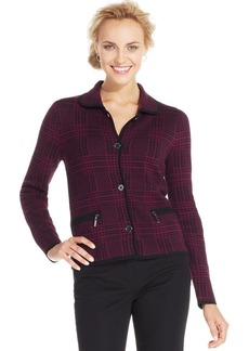 Jones New York Signature Petite Plaid Zippered-Pocket Jacket