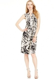 Jones New York Signature Petite Printed Pleat-Front Shift Dress